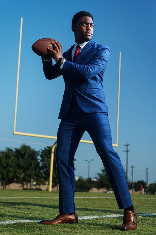 McKinney Senior football pictures texas quarterback in suit