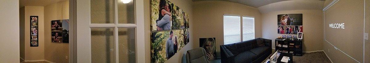 photo of studio showroom of artwork in mckinney texas for senior pictures