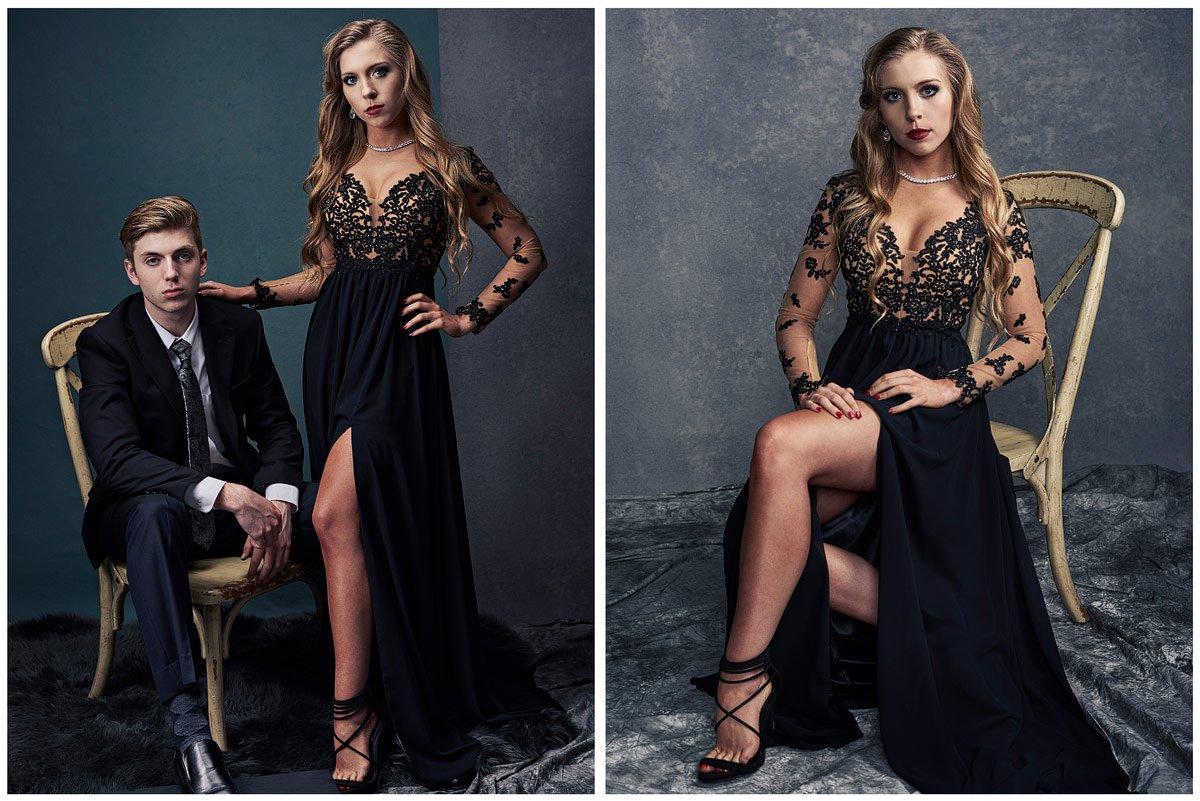 dallas prom with date in Faviana dress
