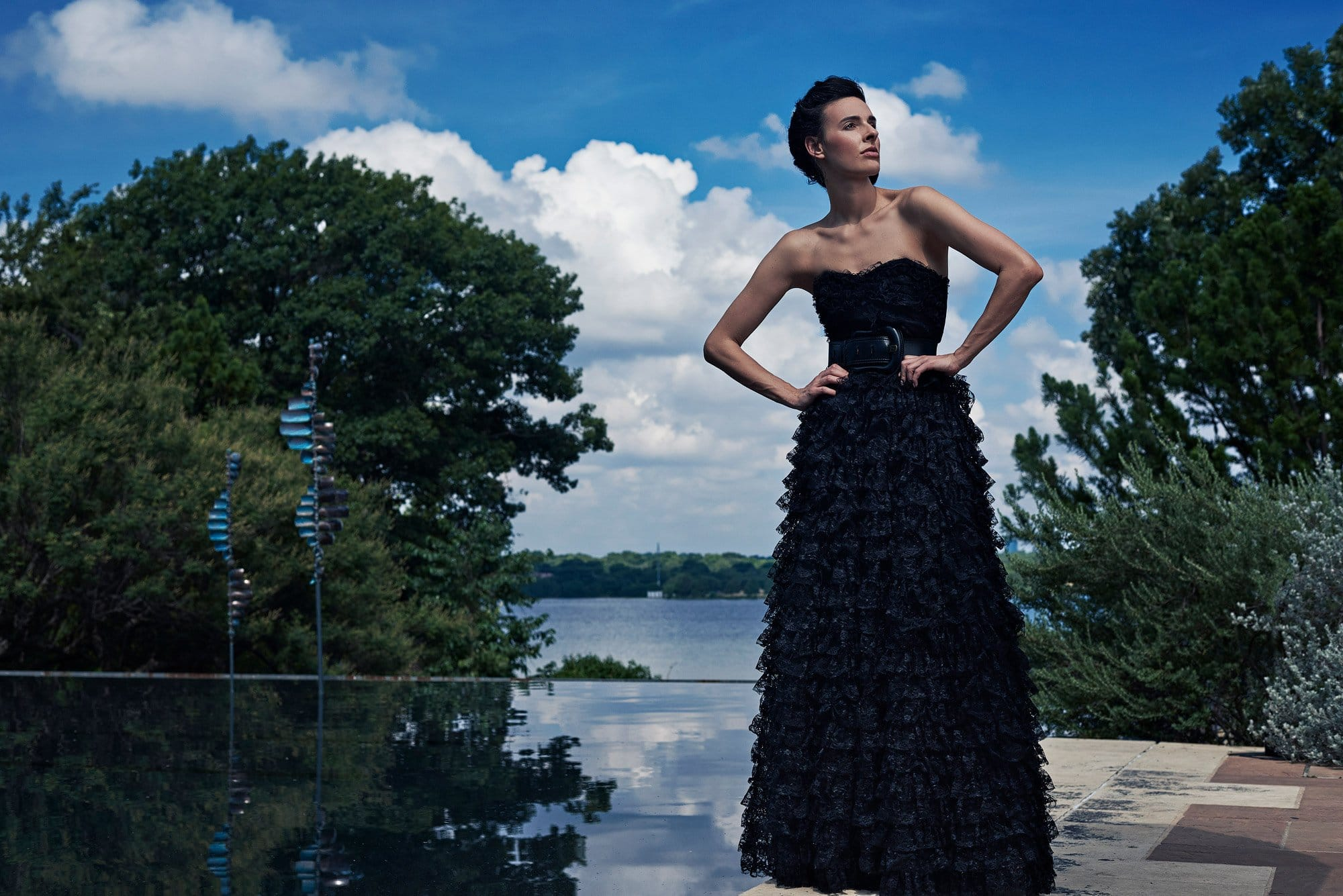 Fashion portrait at Dallas Arboretum woman's garden