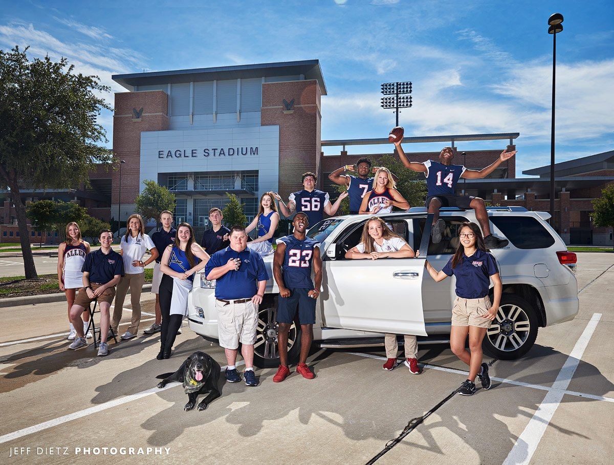 Allen football and band outside eagles stadium for c3 auto