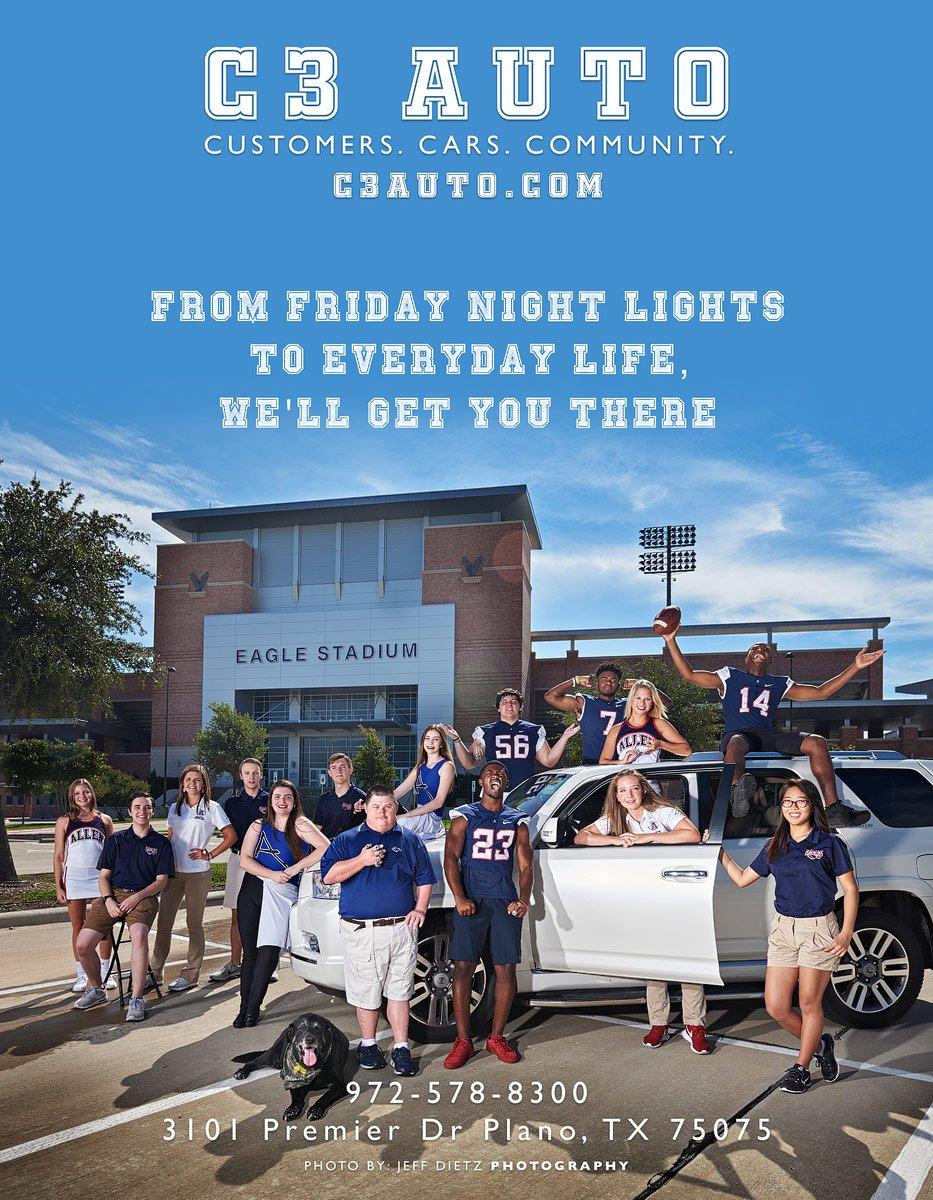 C3 Auto ad for Allen football ad at eagles stadium