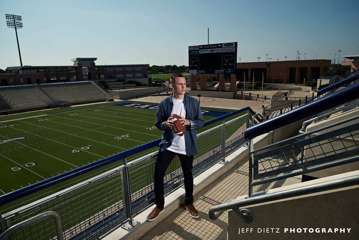 Allen texas football player photos from the top bleachers at eagles stadium