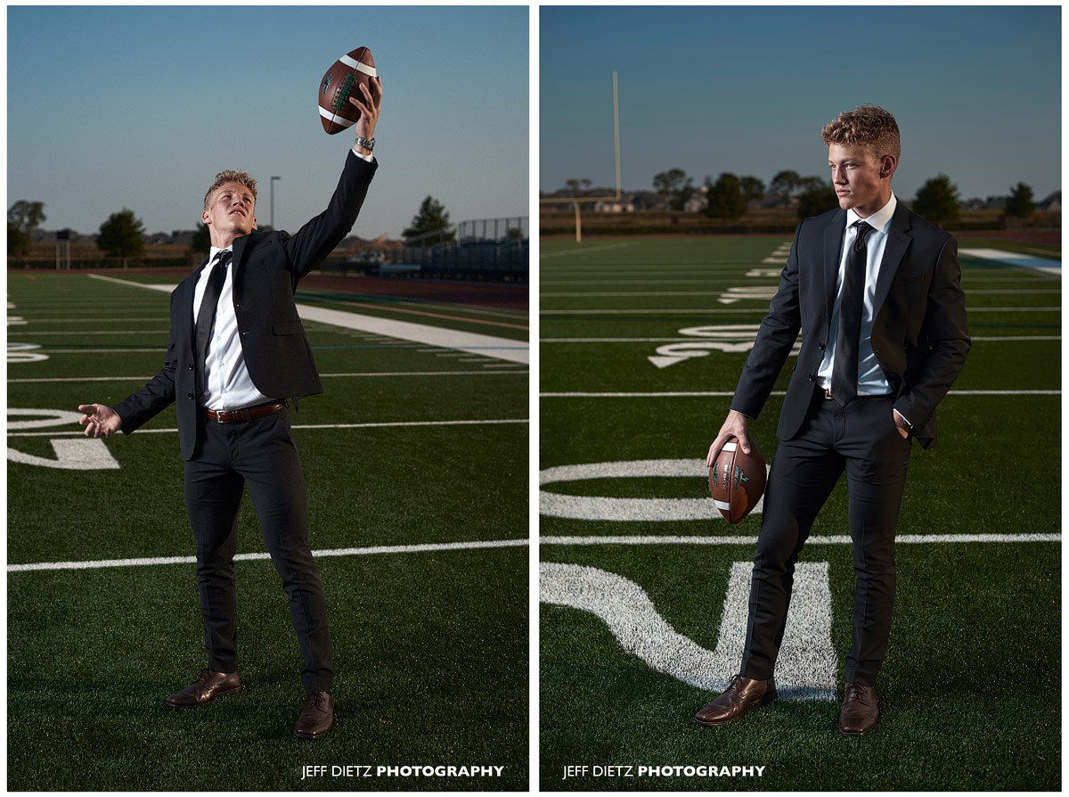 prosper cornerback catches ball at senior portrait photos