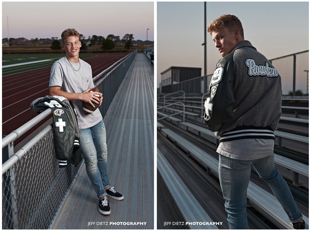 prosper senior portraits in letterman jacket for football at prosper high