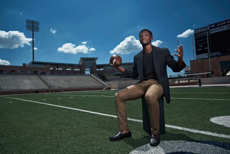 Allen senior football player mo perkins photographed at Allen stadium for fashion sports photos