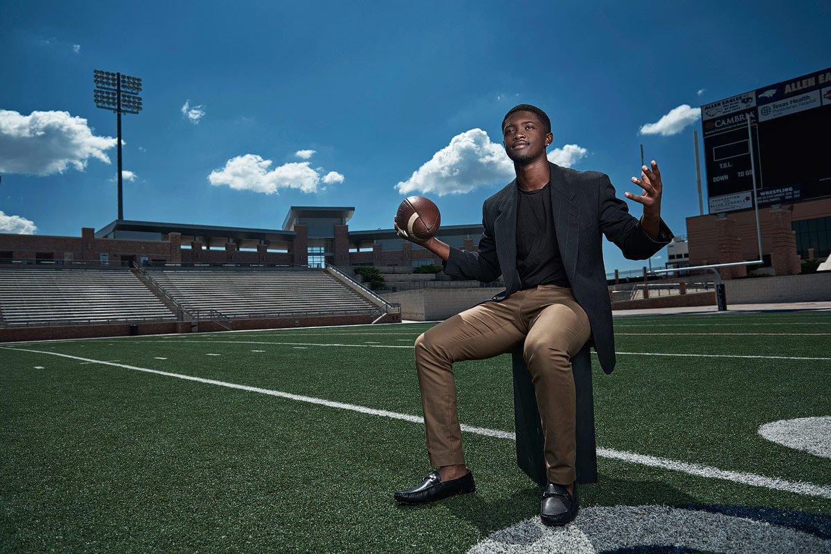Allen senior football player mo perkins photographed at Allen stadium for fashion sports photos
