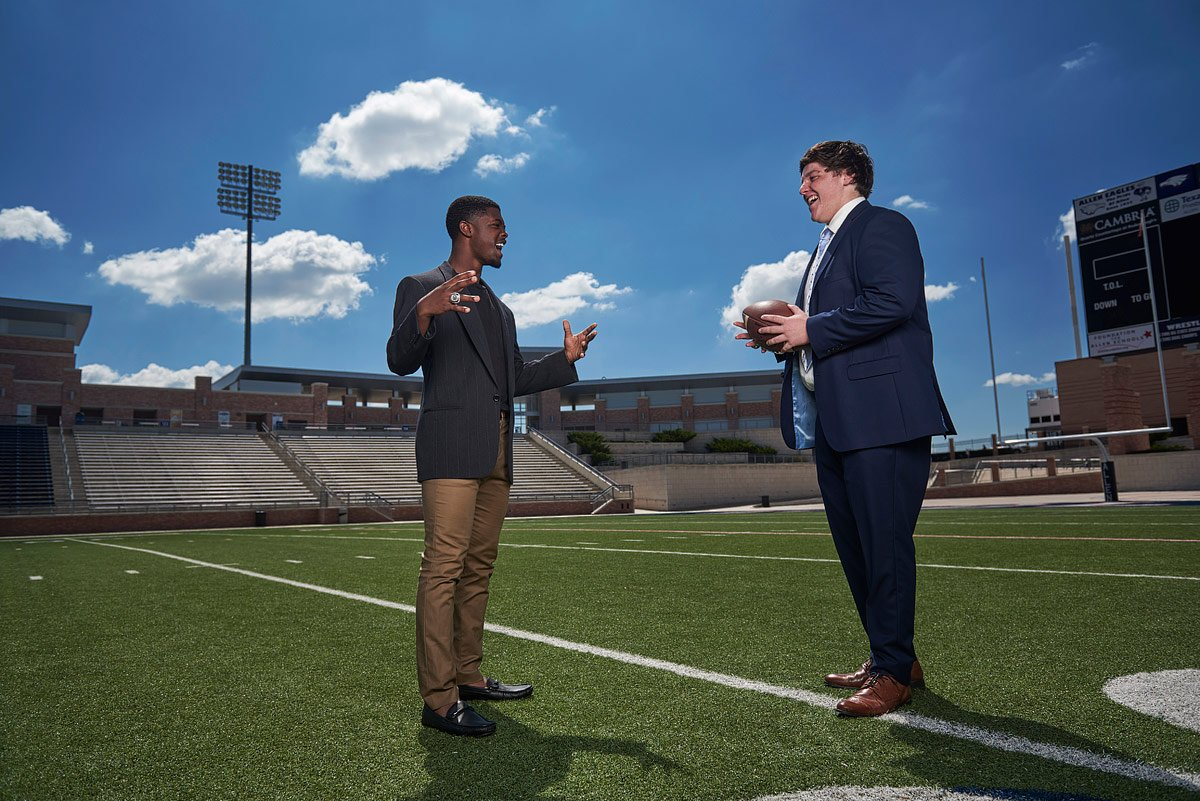 allen state champion players pose on the football field for allen senior photos