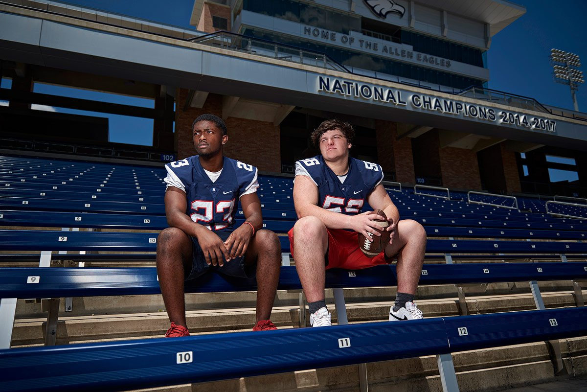 allen state champion players pose in stadium for allen senior photos