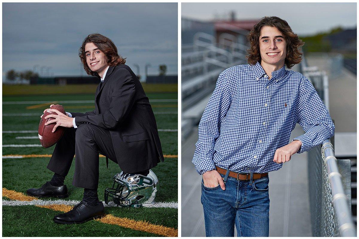 prosper senior photos sitting on football helmet for eagles in suit