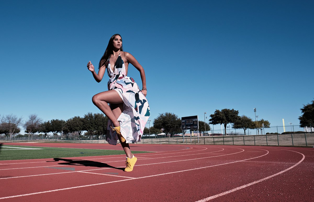girls track at allen with a senior for sports portraits