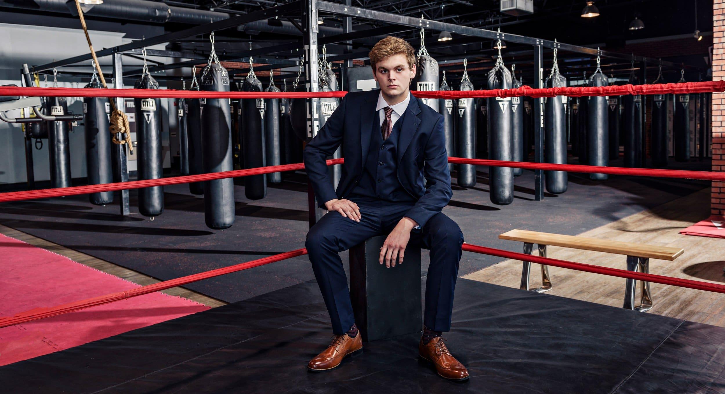 Dallas sports portraits of plano senior high boxing in gym in mckinney tx