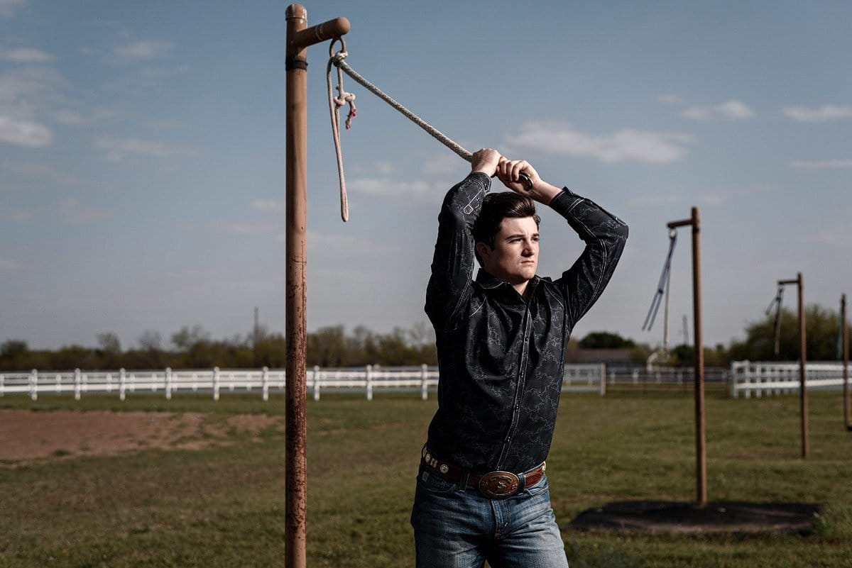 prosper senior tugging on rope at horse farm