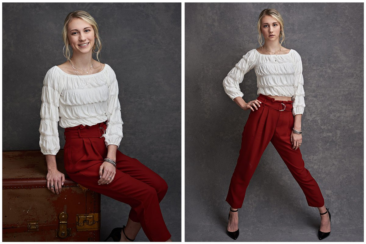 lone star girls senior portraits in studio red pants white top