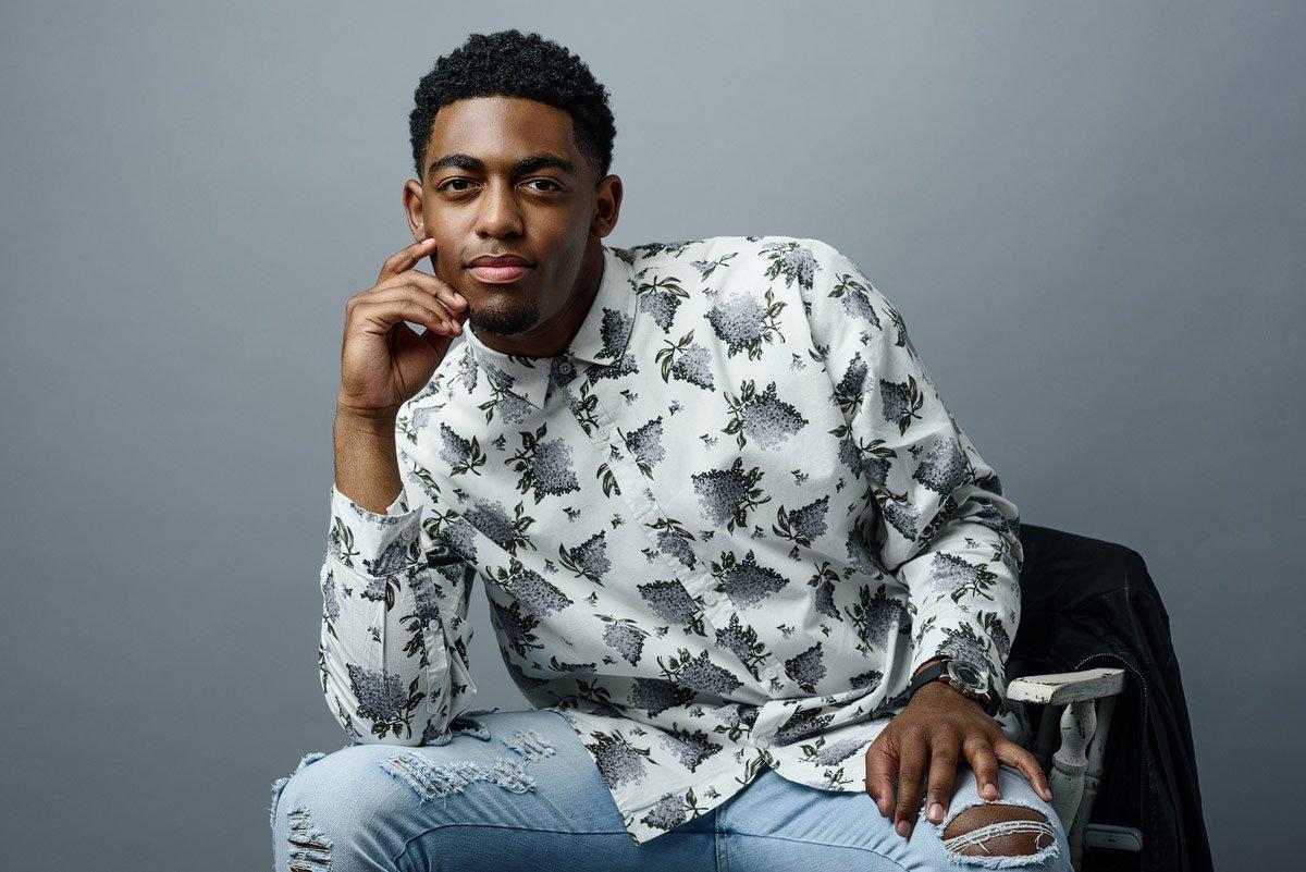 mckinney north senior pictures in white button down pattern shirt
