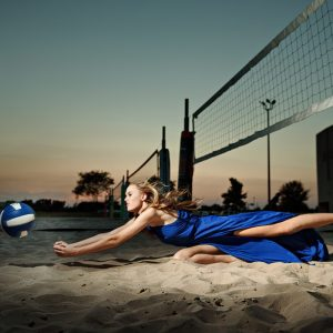 mckinney north girls volleyball senior sports portraits on sand court