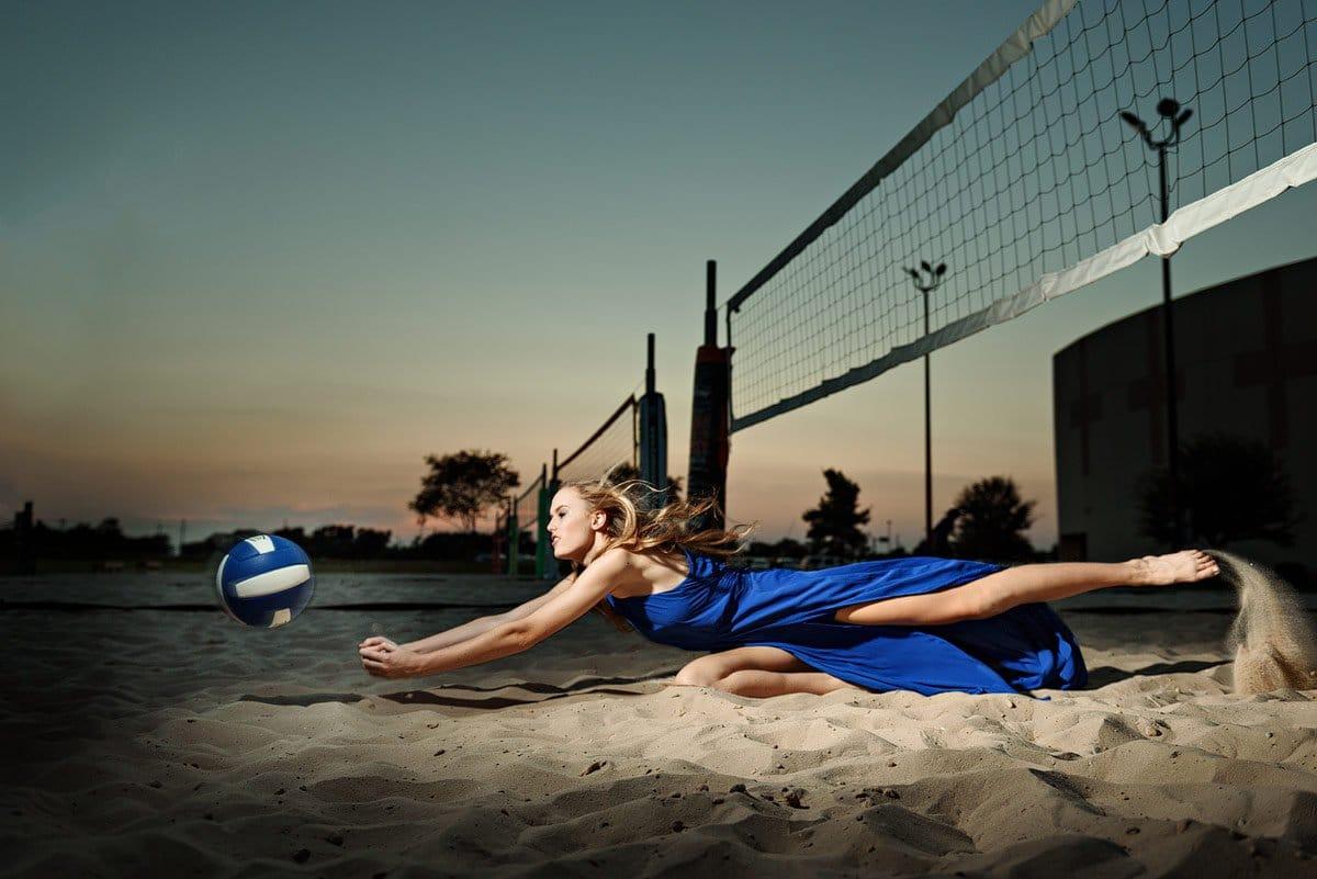 mckinney north girls volleyball senior sports portraits on sand court