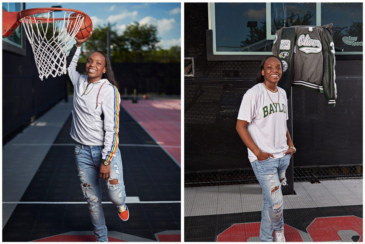 outdoor photos on basketball court in prosper for senior photos