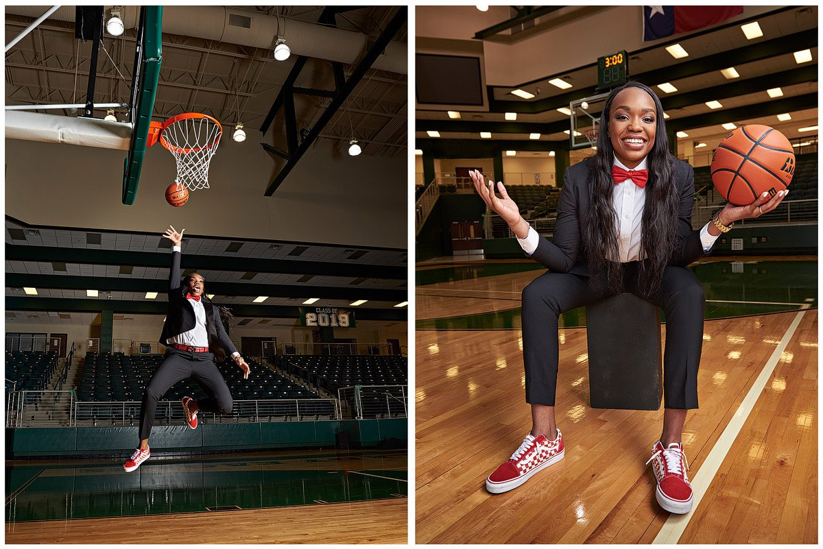 jordyn oliver jumping for a basket in a suit and posing for the camera red bow tie