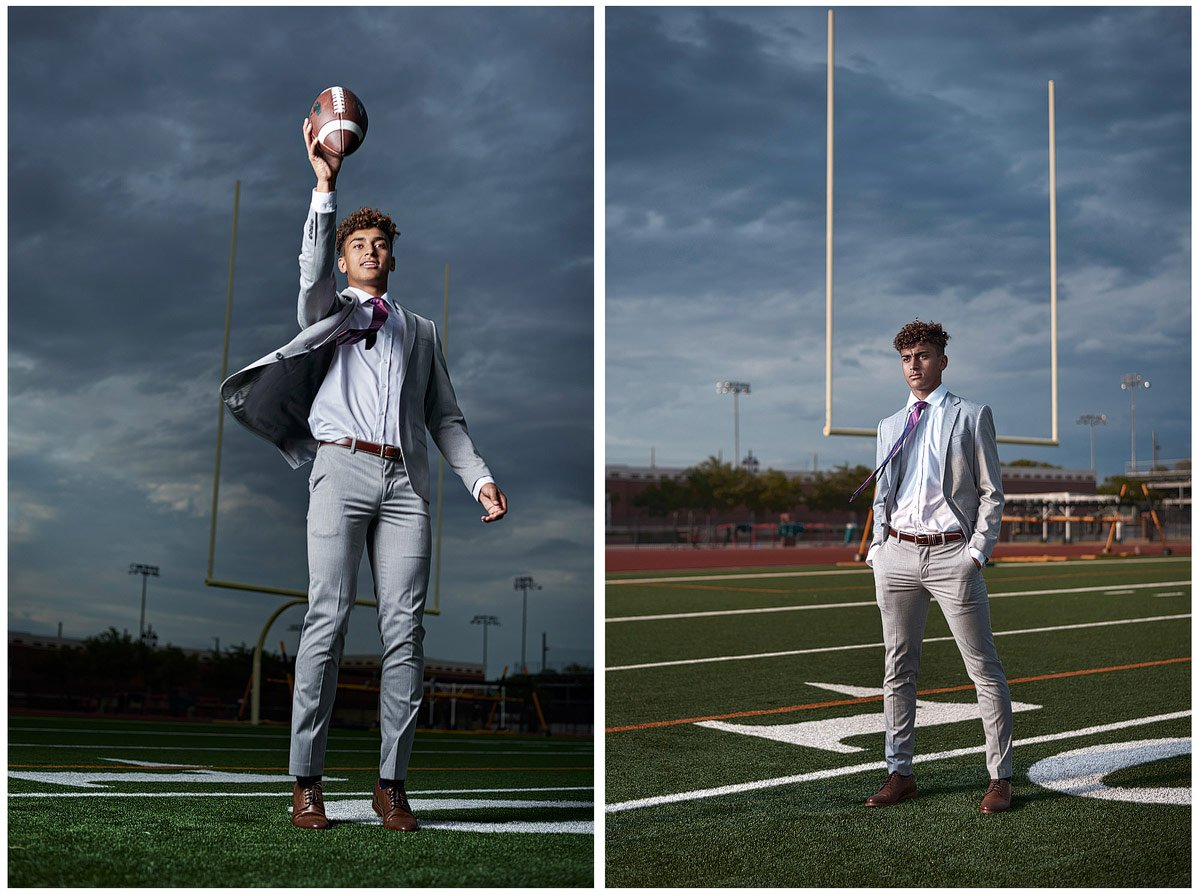 dallas high school football player jumping to catch a ball in suit