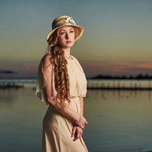 vintage senior portraits lake dallas with yellow hat