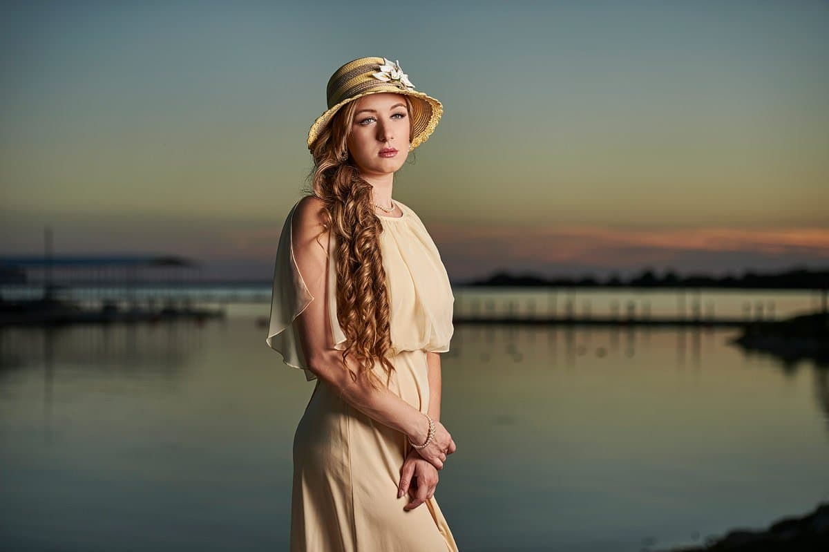 vintage senior portraits lake dallas with yellow hat