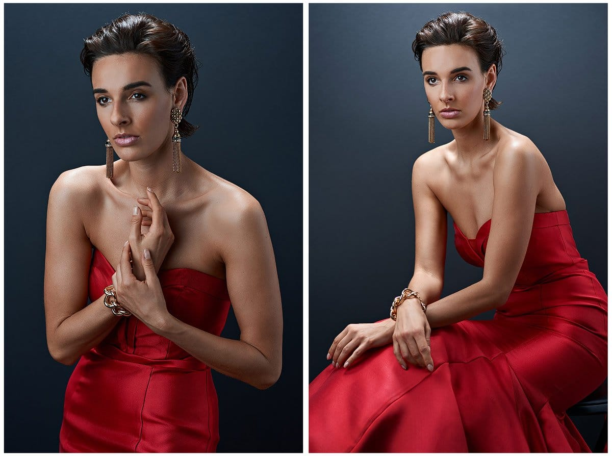 dallas model photo sin studio with red dress vanity fair style