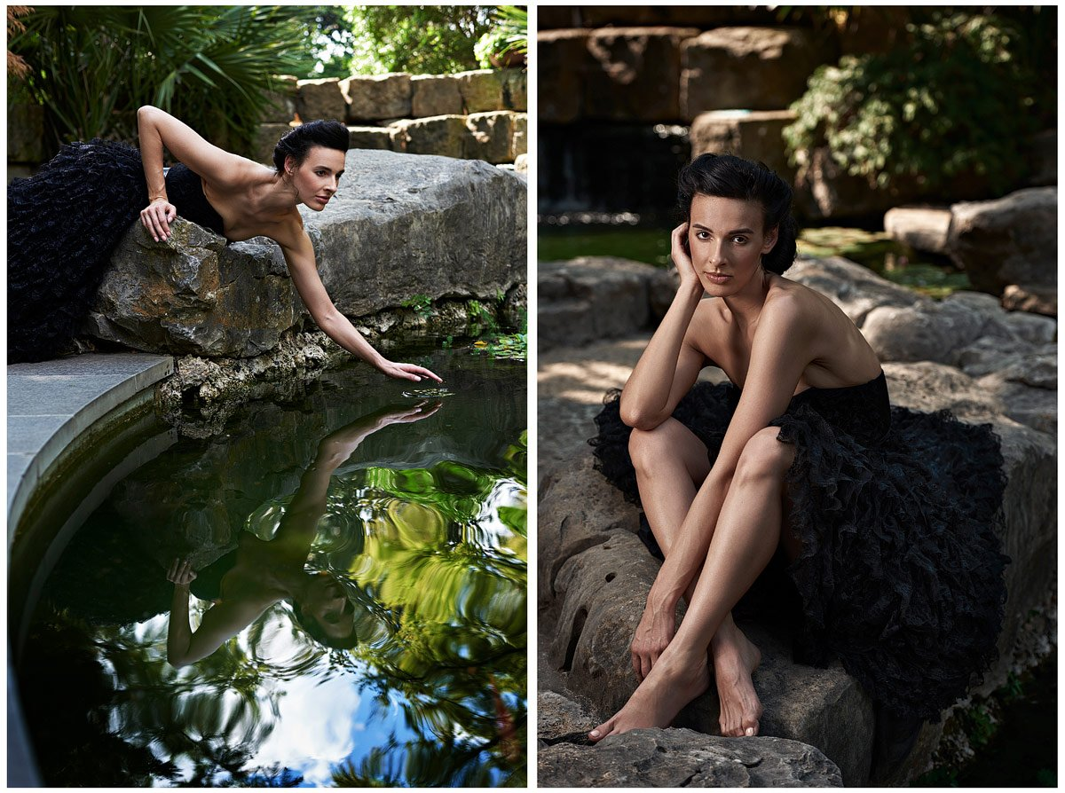 model photo shoot by fishpond at dallas arboretum