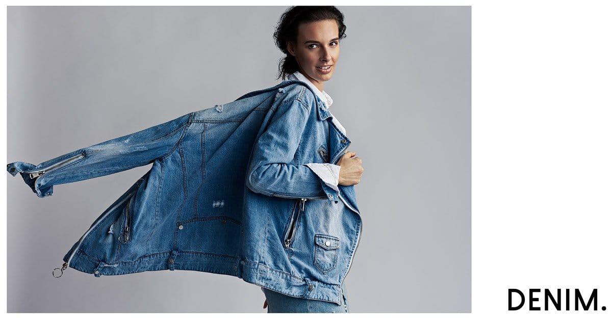 model in jean jacket in studio photo shoot dallas texas