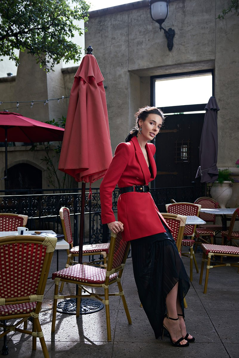Bonnie Ruths bistro outdoor cafe in frisco with model in red coat campbell agency