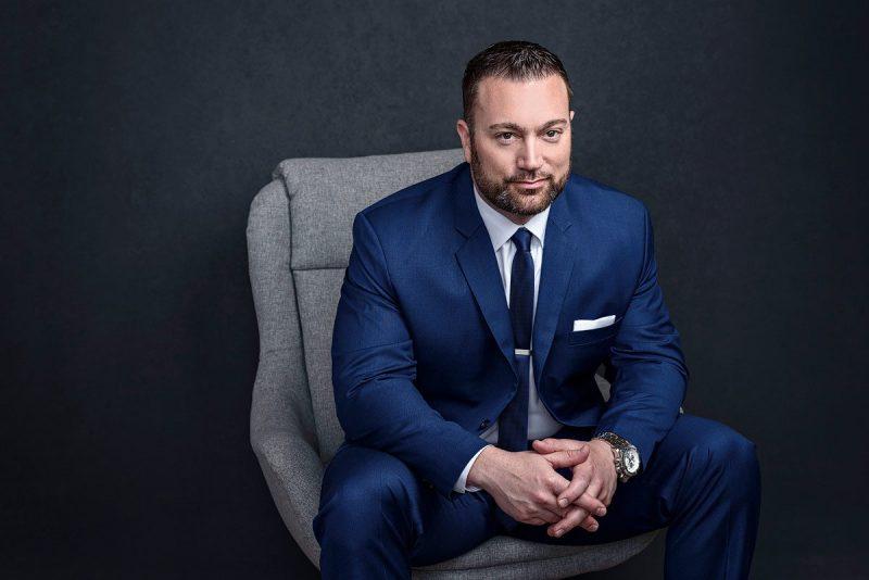 dallas lawyer headshots in blue suit modern studio photographer