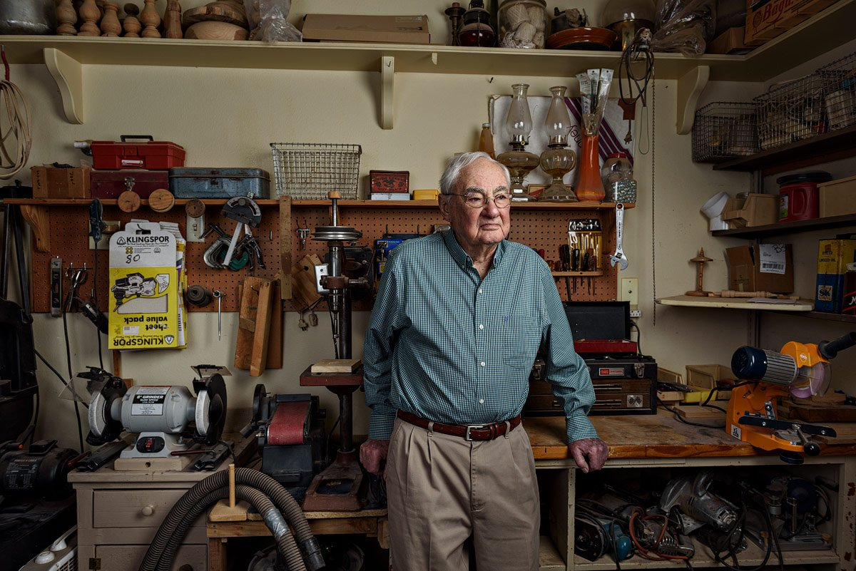 dallas portrait photographer of old man in wood shop in mckinney texas