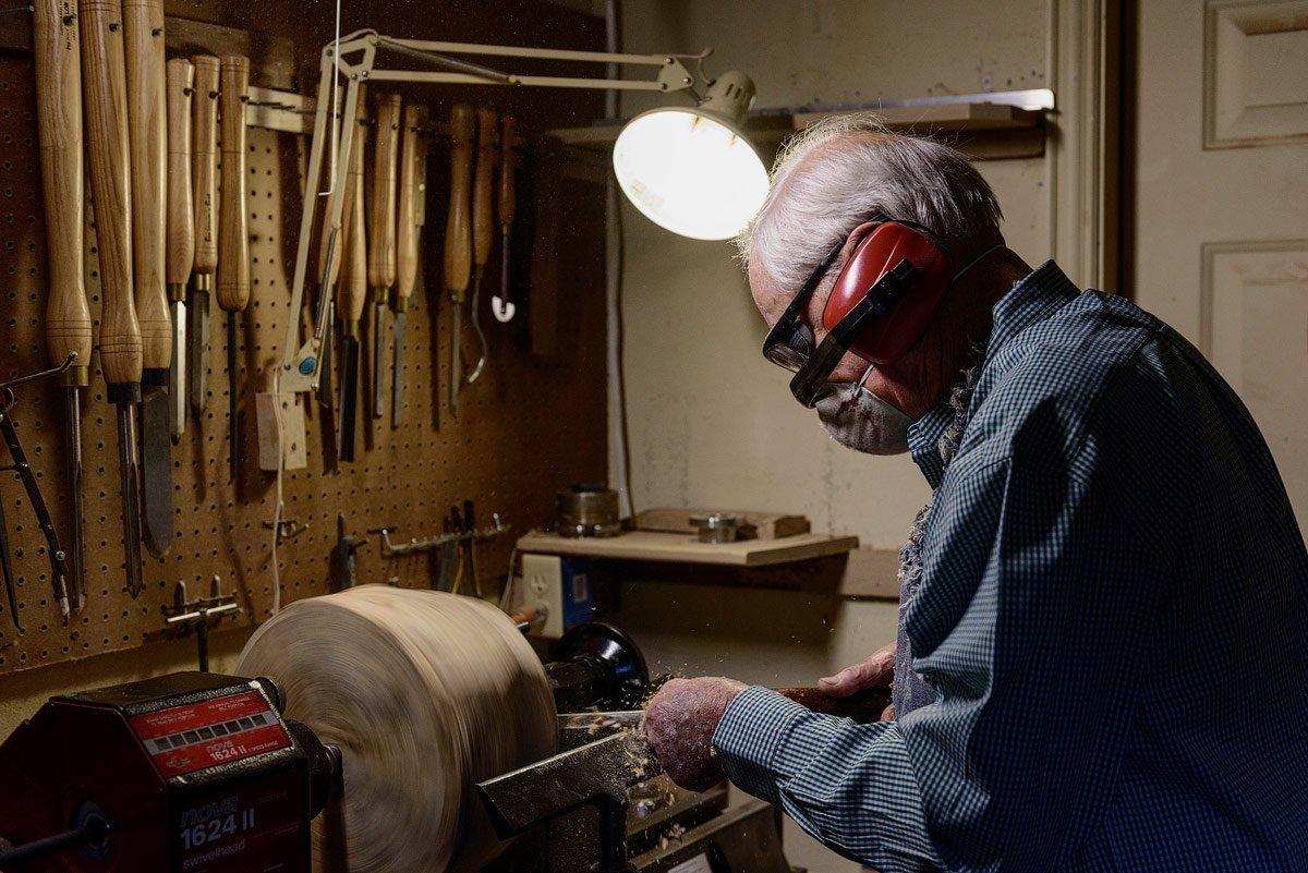 artist portrait of woodworker in shop in mckinney texas