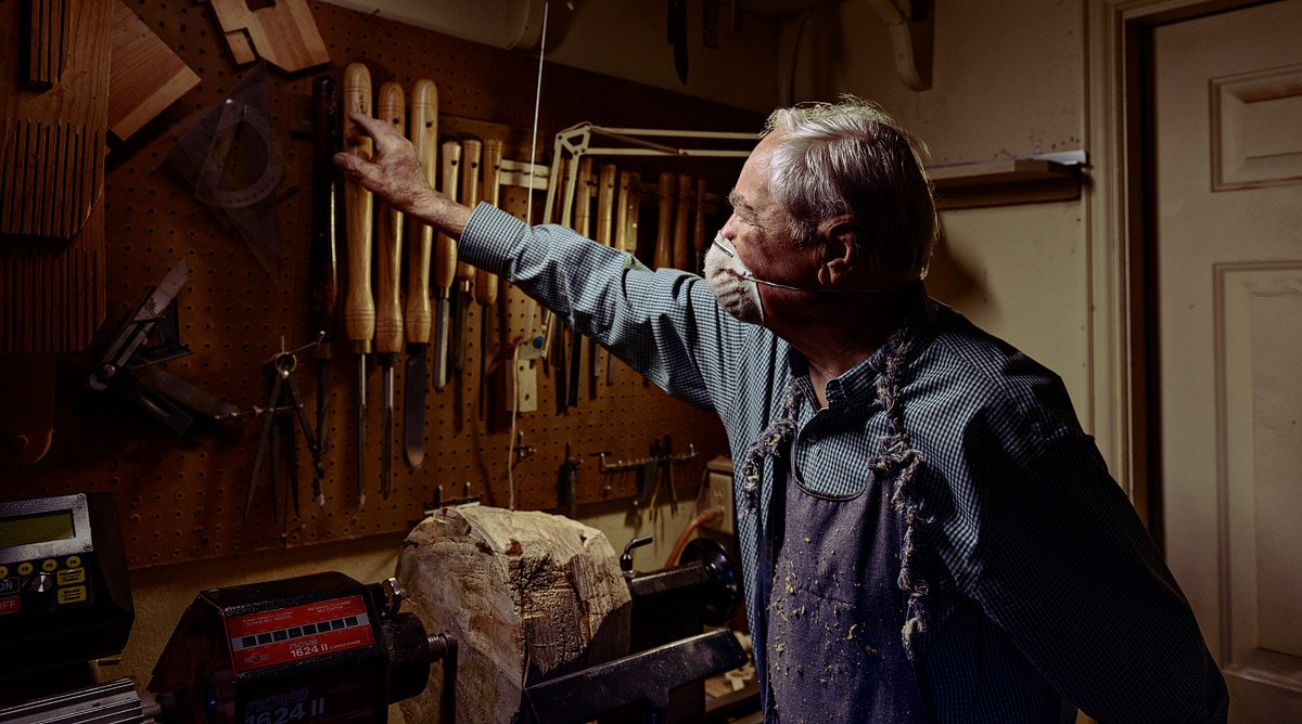 dallas portrait artist older man woodworking in shop mckinney texas