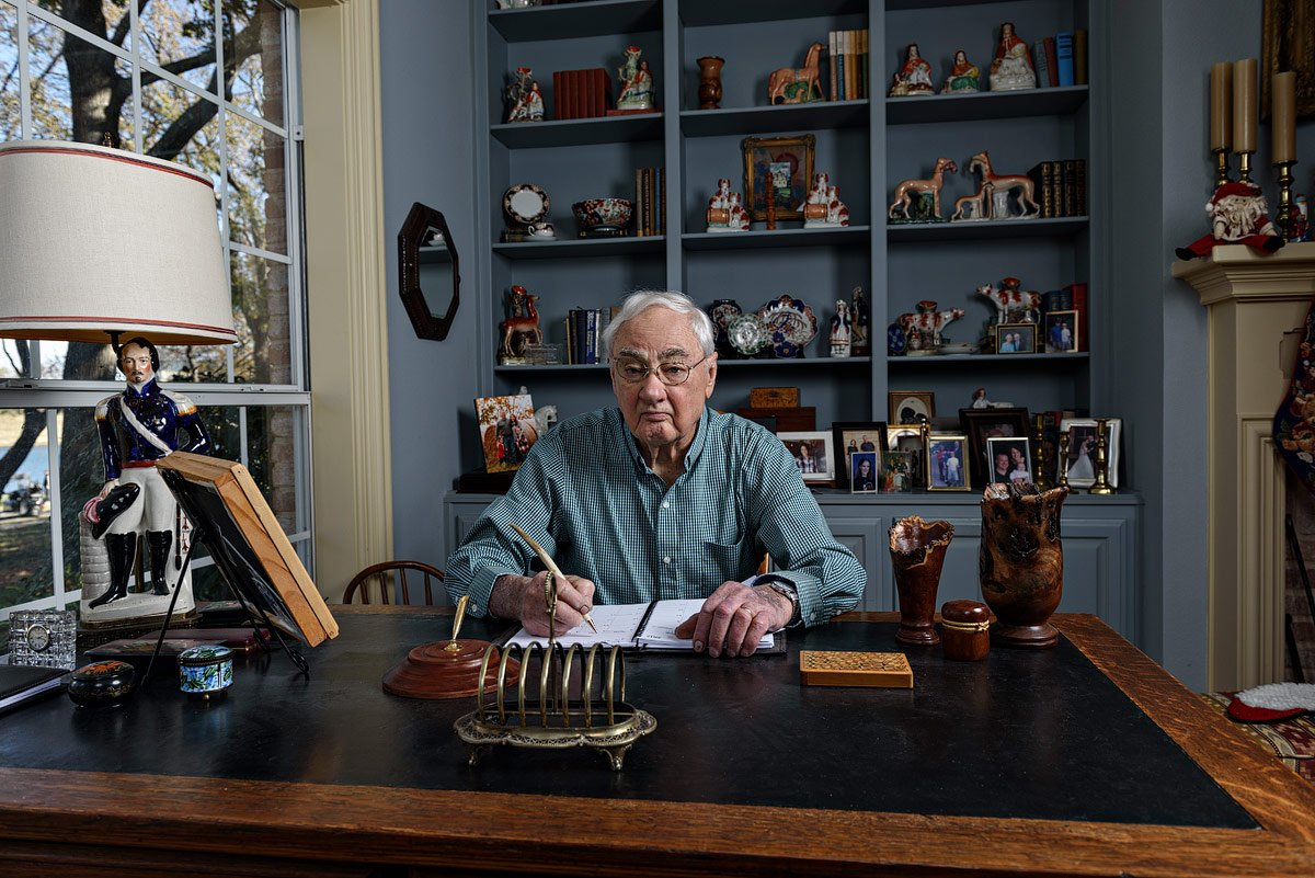 veteran and dallas craftsman sitting at writing table for portrait by mckinney photographer Jeff Dietz