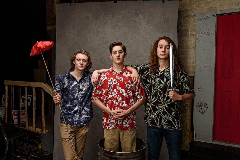 mckinney high school senior group portraits of theater friends