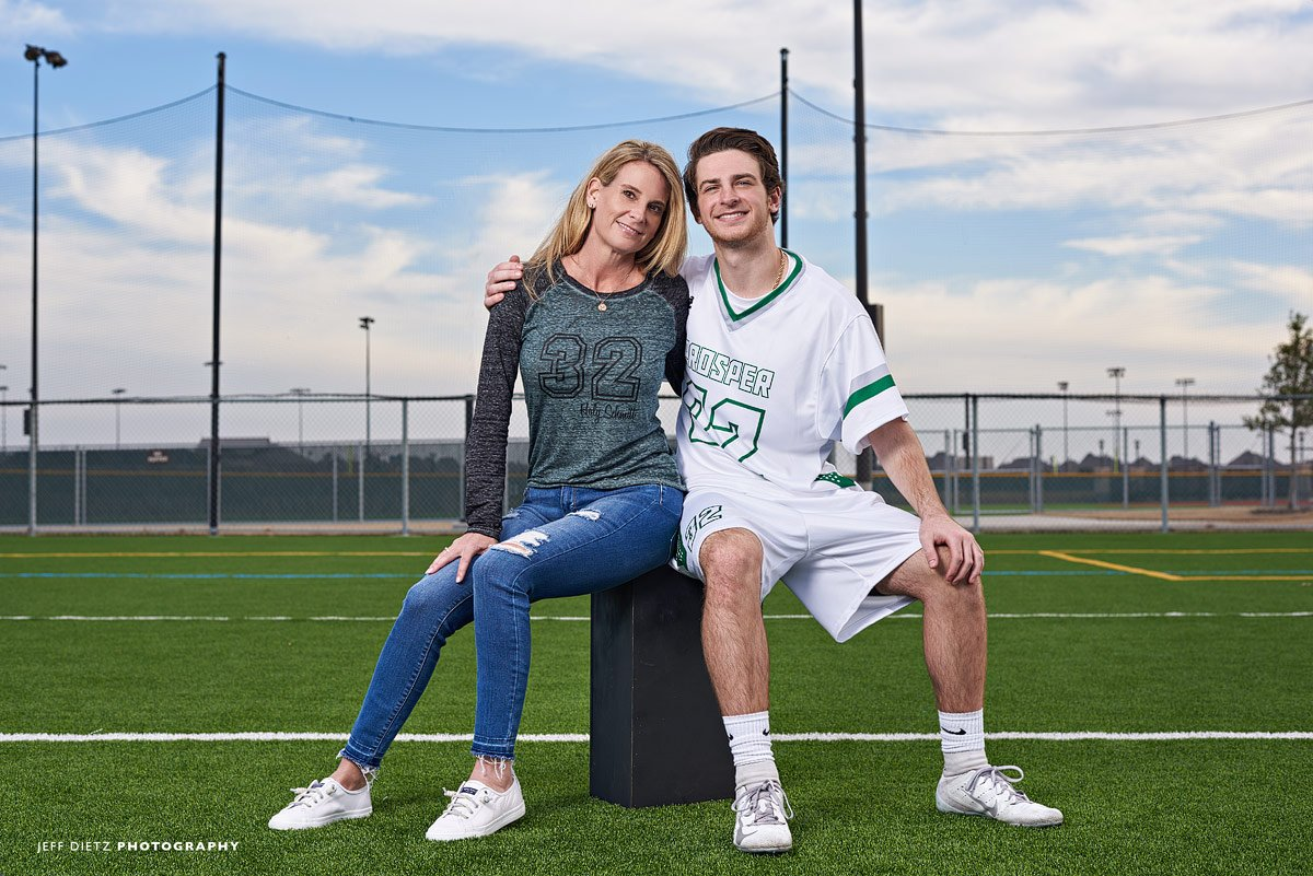 prosper lacrosse player for mom and son photo of senior players at the high school field