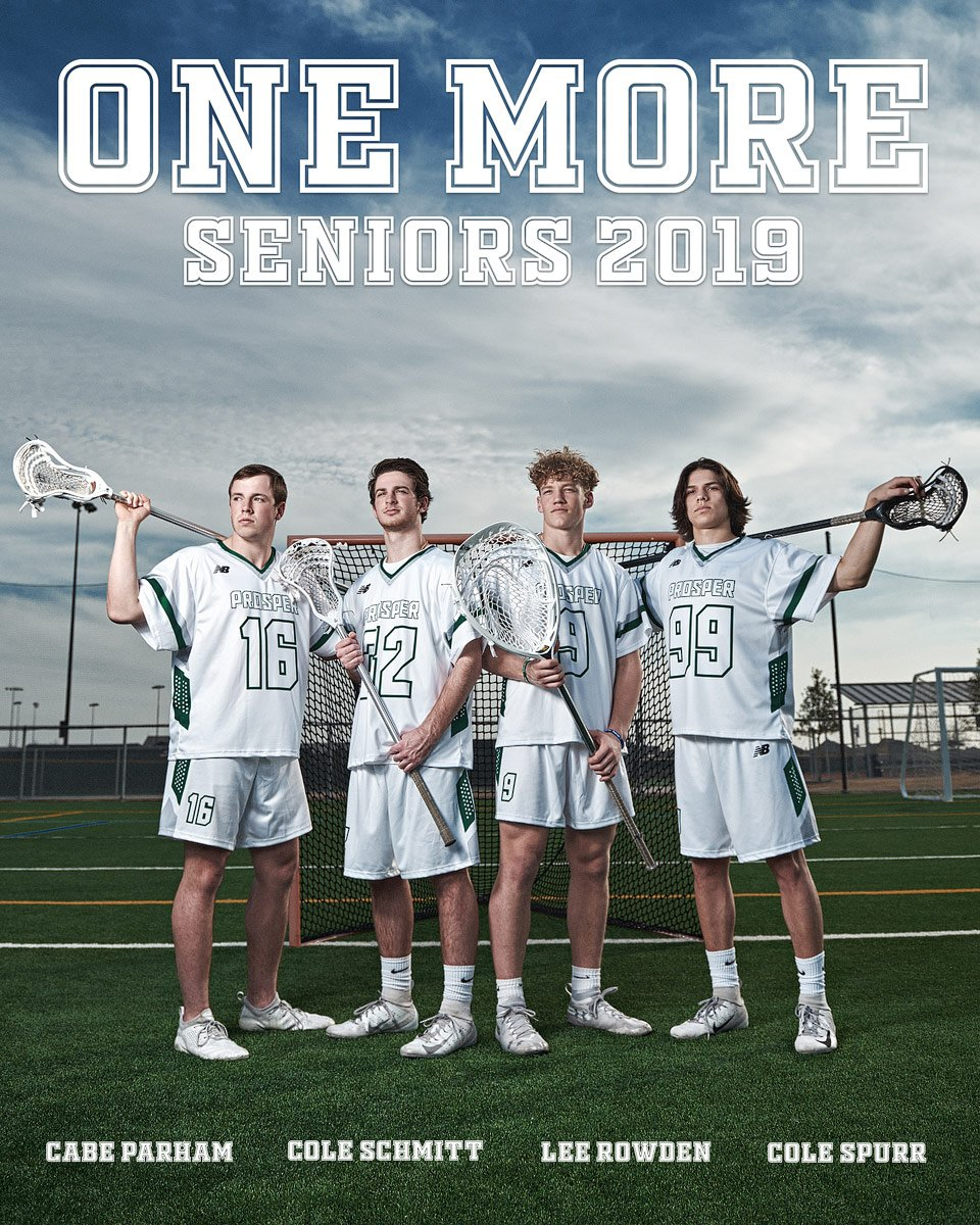 senior ad for program of lacrosse 2019 team at Prosper high school photographed at pioneer park