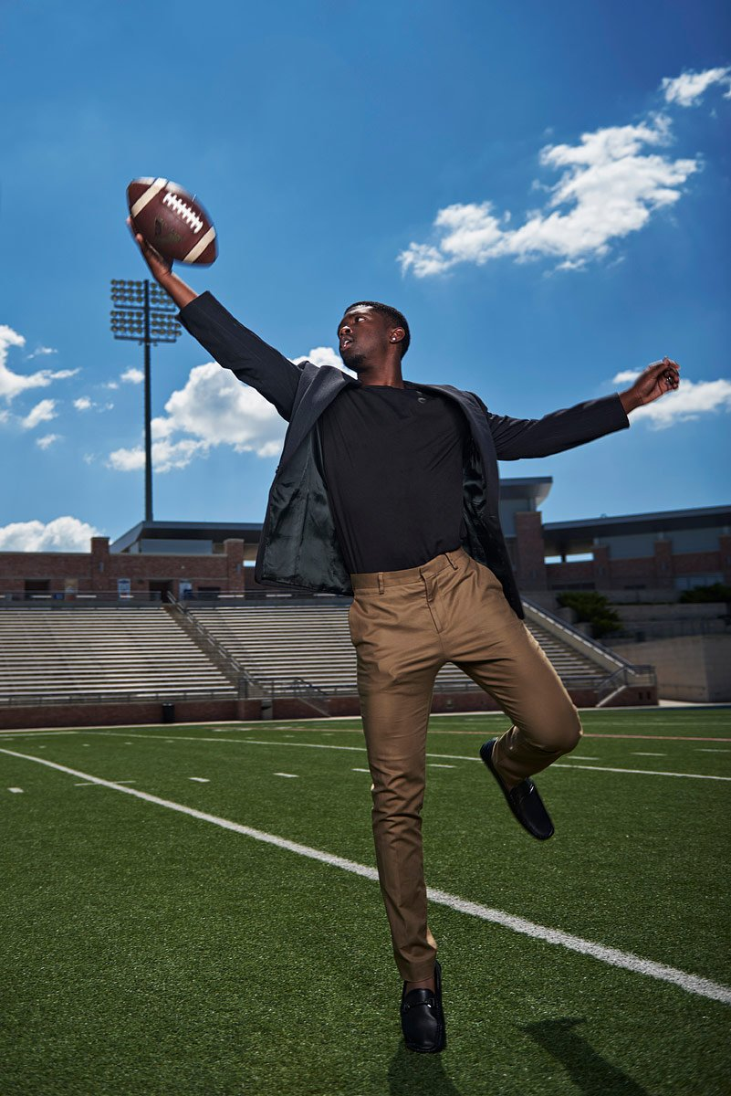 Allen sports photos of senior football db jumping to catch ball