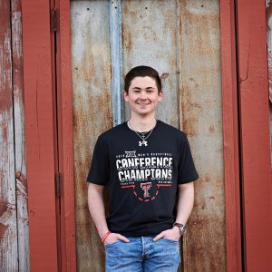 Prosper senior photos of boys college celebration t-shirts texas tech