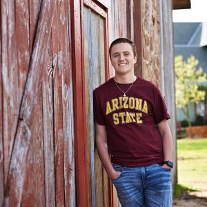 Prosper senior photos of boys college celebration t-shirts arizona state