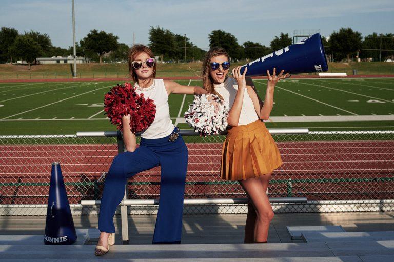 Dallas Cheerleaders Senior Pictures in dresses and pom poms allen eagle stadium