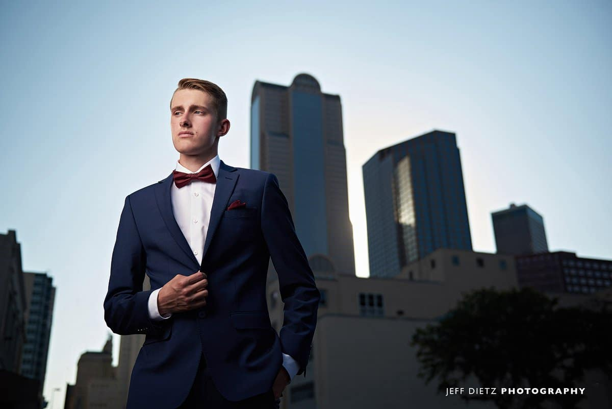 dallas senior portraits in the city with a suit