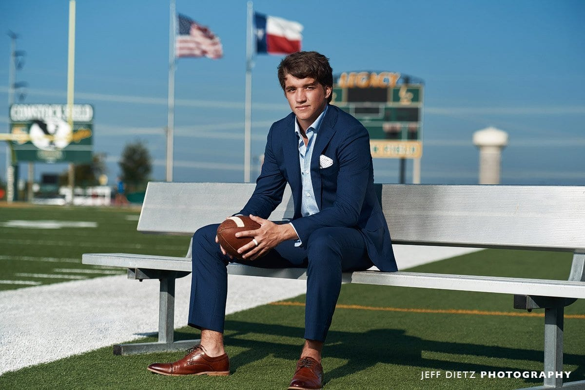 frisco senior from legacy christian academy for portraits in suit