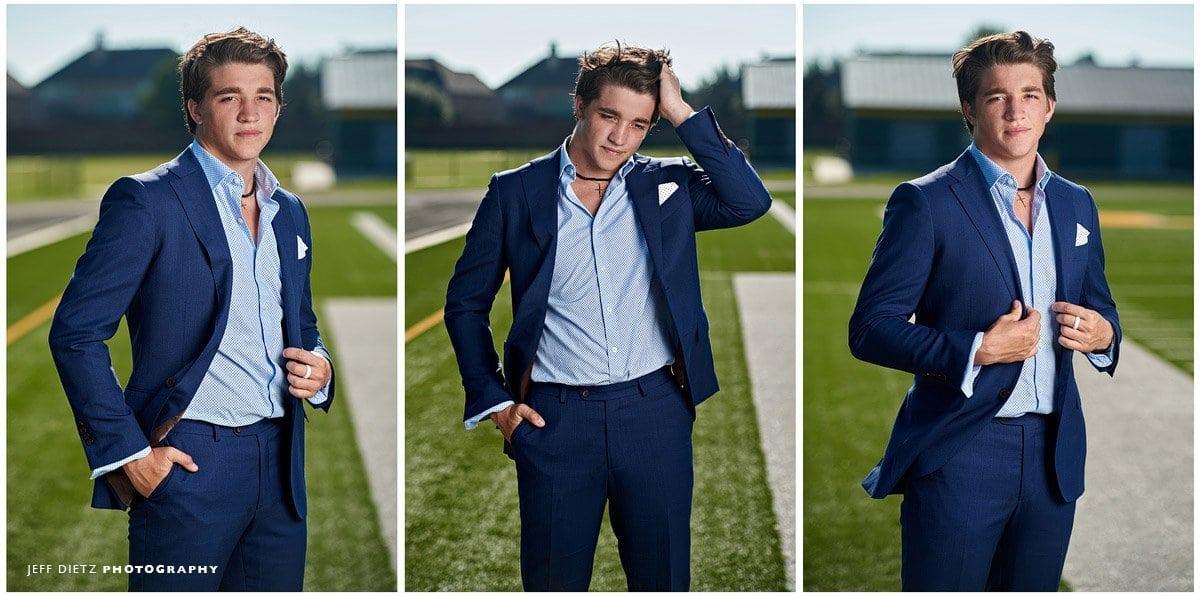 Legacy Christian Senior Portraits Triplet of senior football player in blue suit