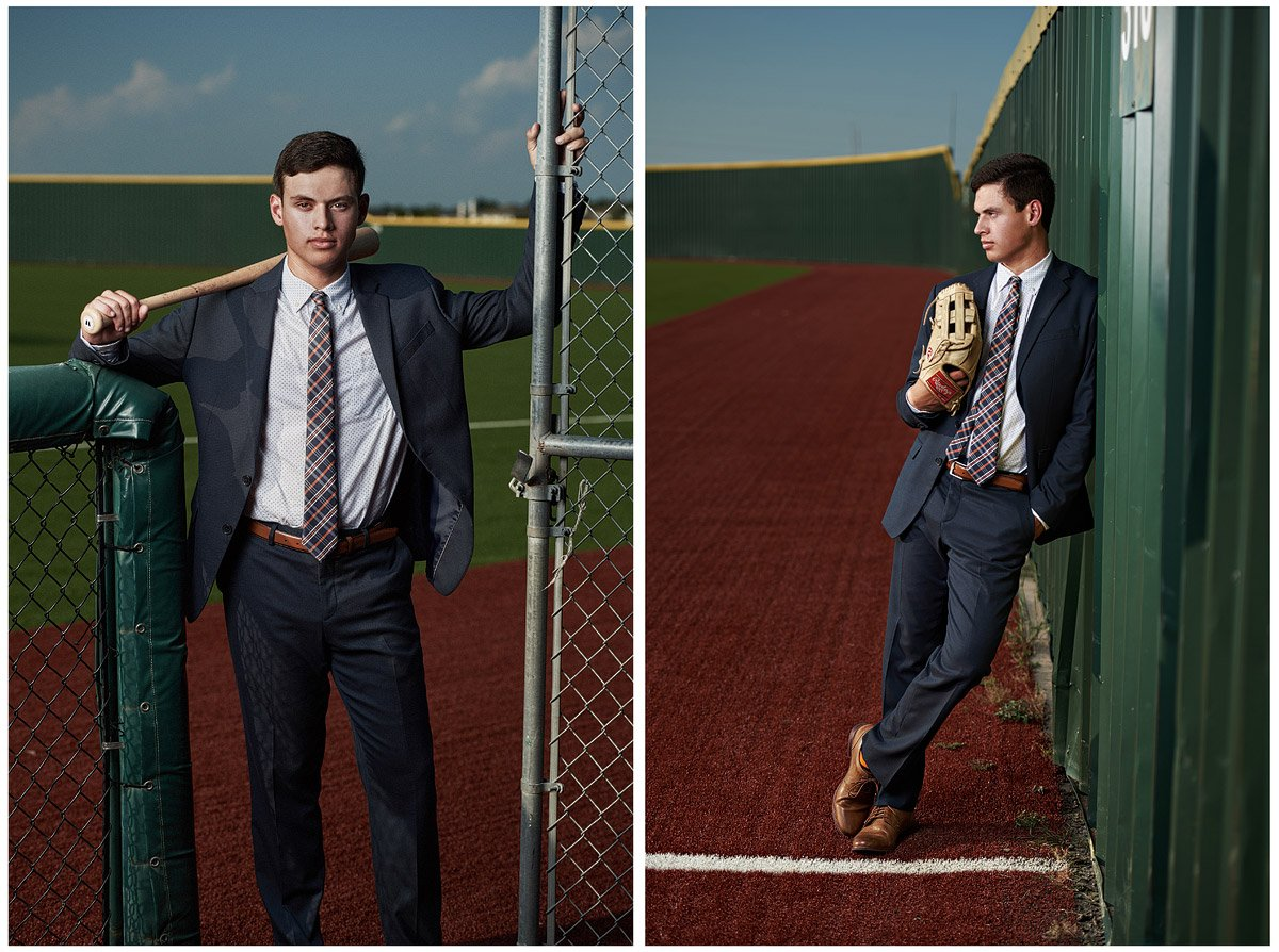mckinney senior baseball player on the field for senior sports photos