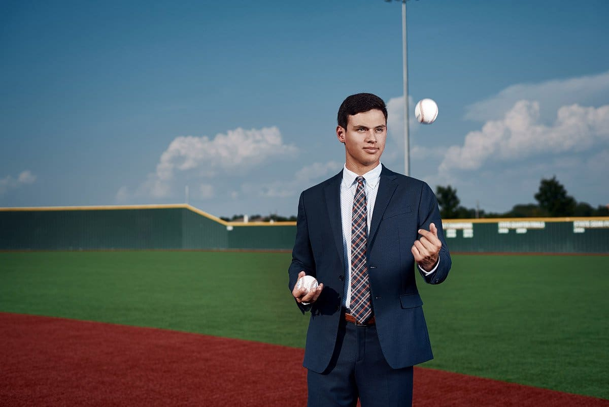 McKinney North Senior portraits of baseball player zach in Mckinney, TX
