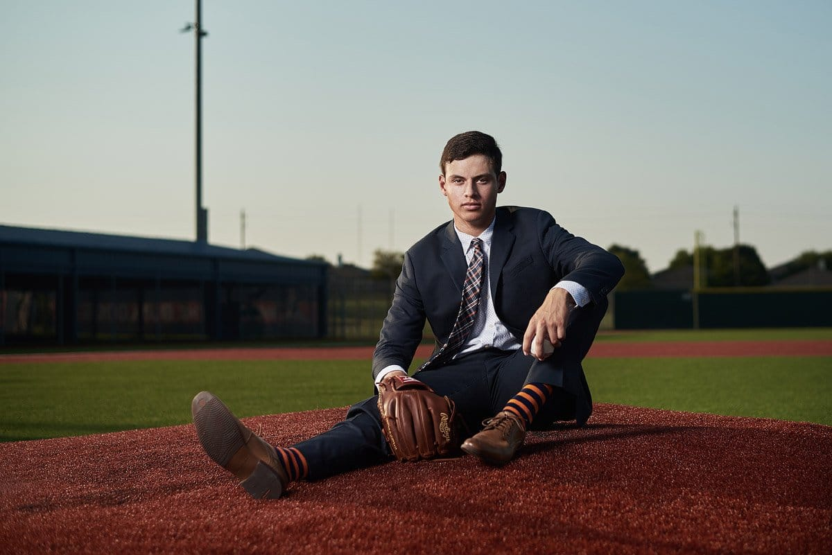 creative senior portraits of mckinney north senior baseball player zach by dallas senior photographer