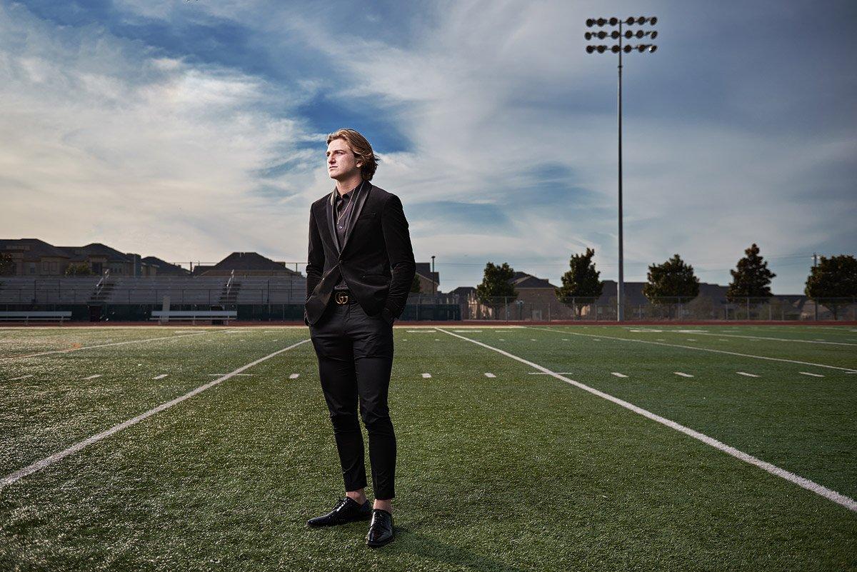Prestonwood christian senior pictures in plano texas football field