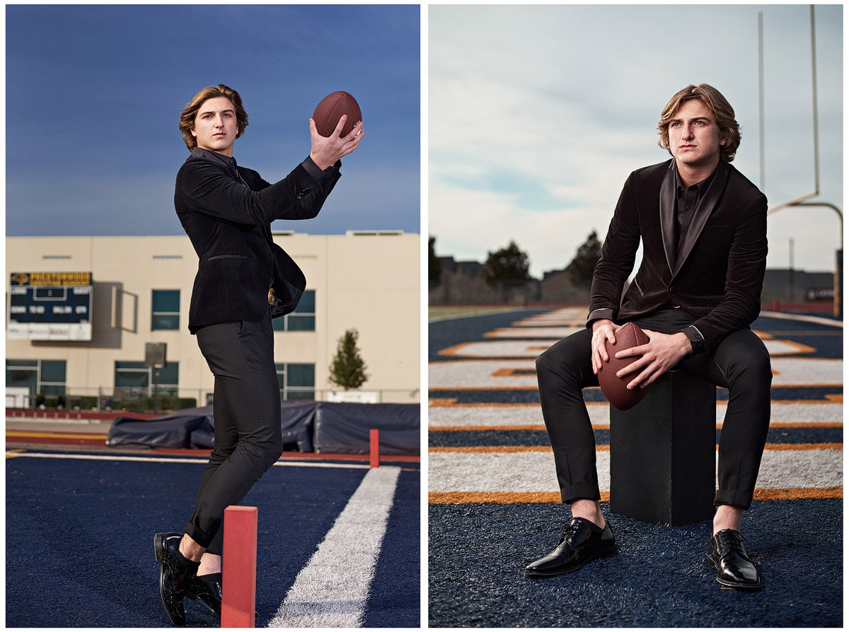 Prestonwood Senior Portraits Riley catching a pass in the endzone in a black suit